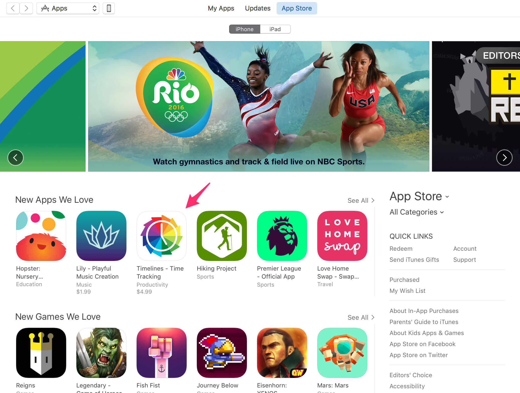 Timelines featured on the App Store