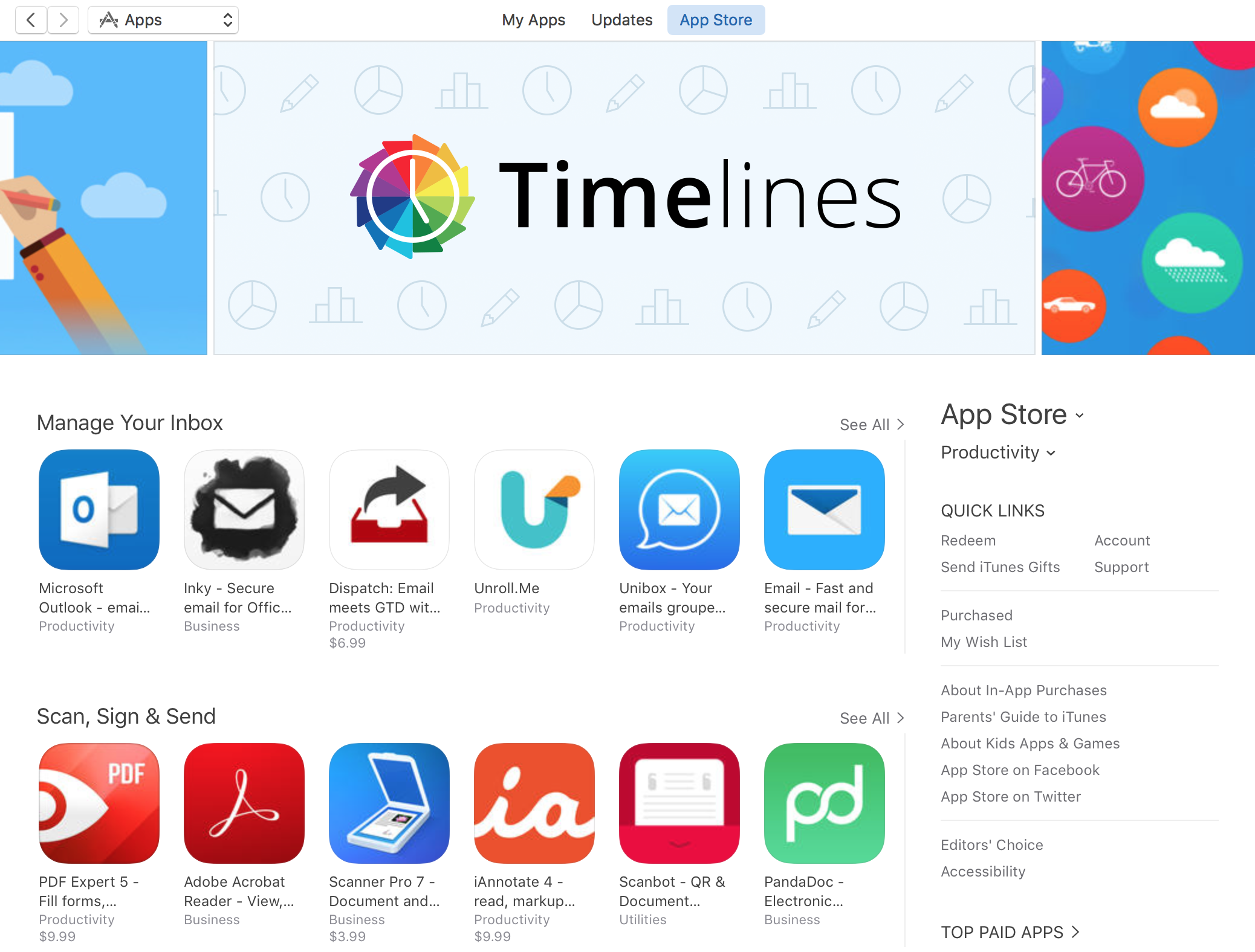 Timelines featured on the App Store, Productivity category