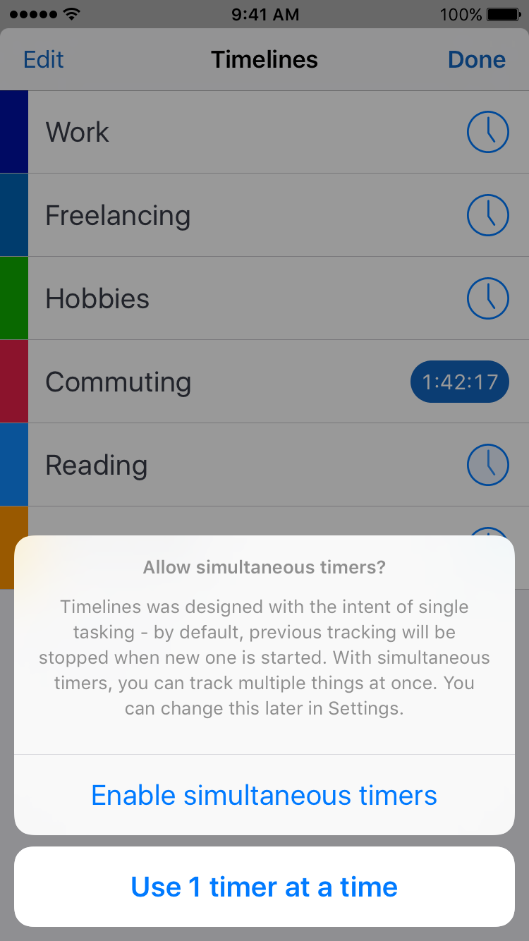 Timelines app simultaneous timers screenshot