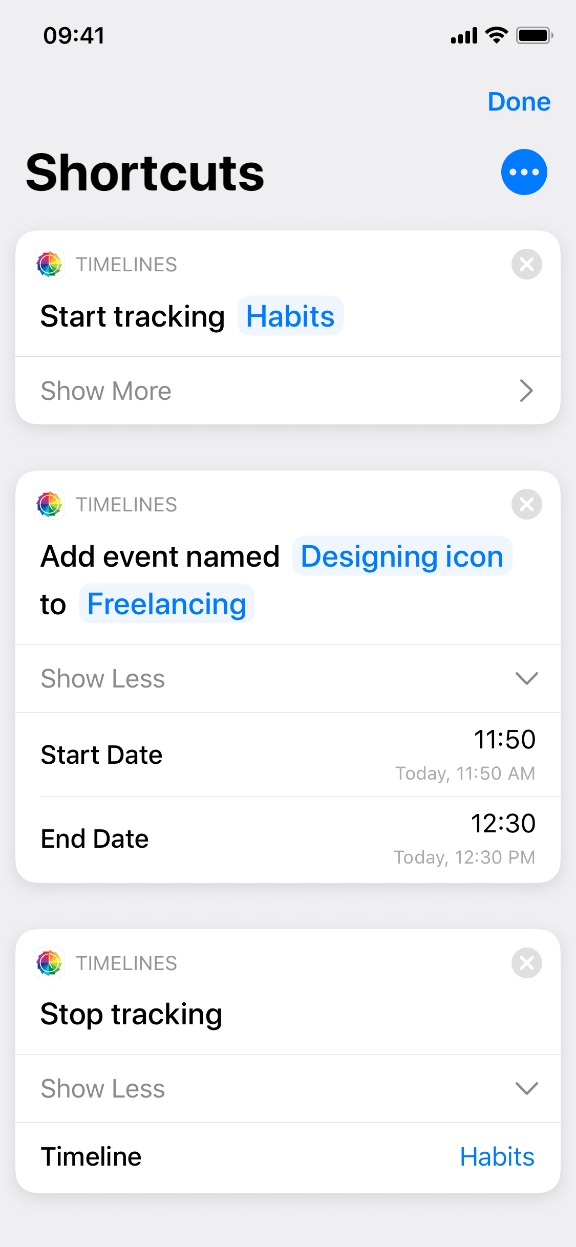 Timelines Siri Shortcuts with parameters