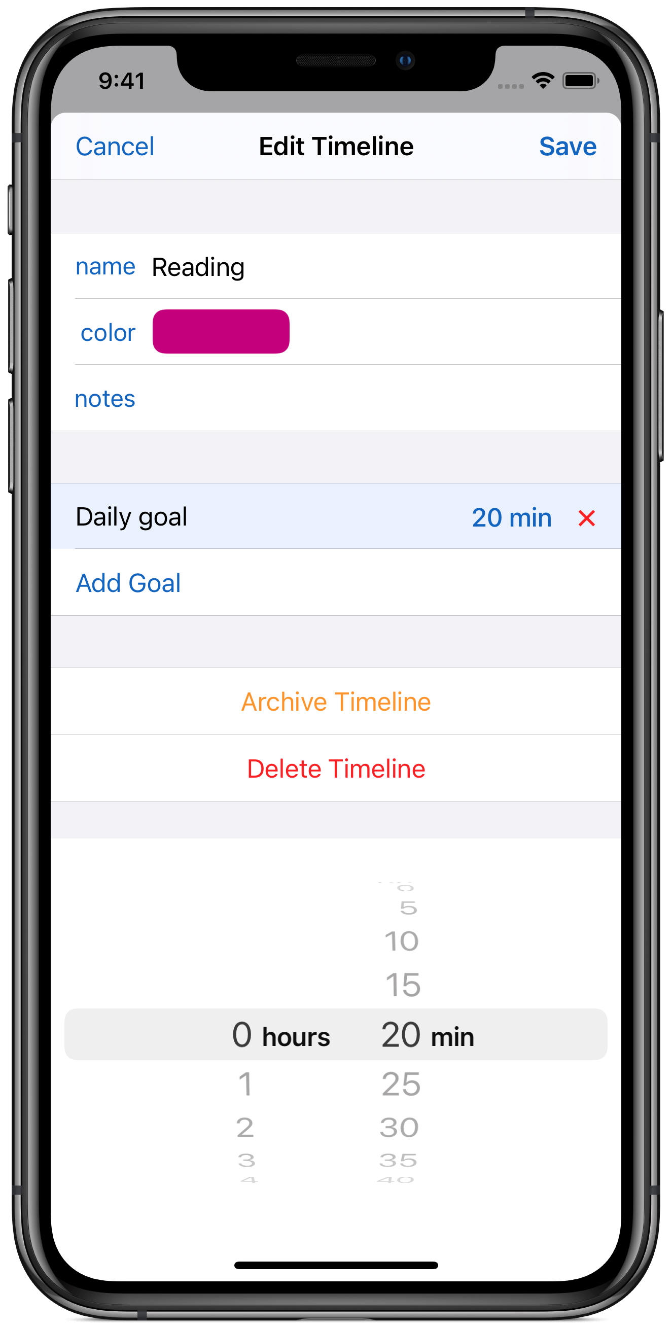 Timelines setting daily goal